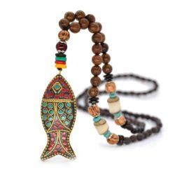 Halsketting vis mala Tibetaans boeddhistische houten kralenketting