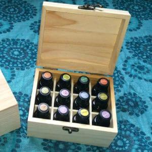 Houten essentiële oliën opberg kist, display 12 olie flesjes vakken