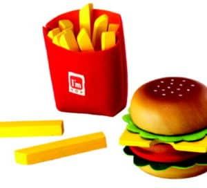 Houten Hamburger frietset