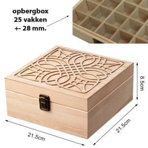 Houten opbergbox display doos 25 vakken essentiële olie flesjes
