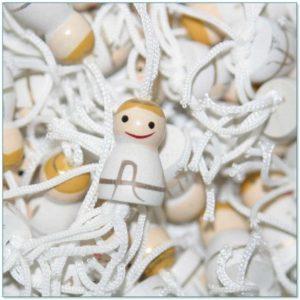 Houten Gelukspoppetjes Engeltjes wit