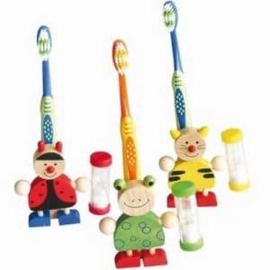Houten tandenborstelhouder dieren