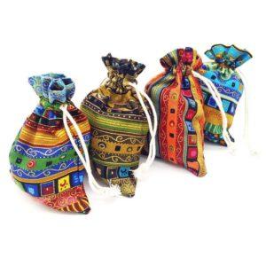 katoenen zakje Egyptische print 10 x 14 cm multi color