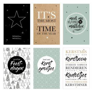 Kerst zakje glimlach 10 kaartjes kerstteksten