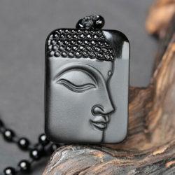 Ketting Boeddha zwarte Obsidiaan geluksamulet natuursteen