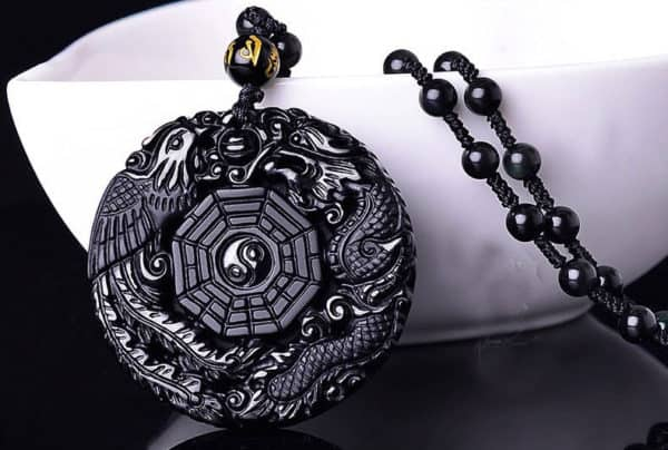 Ketting Yin Yang dragon zwarte Obsidiaan geluksamulet rond