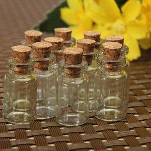 Mini kurk flesje glas 0.5 ml – kleine wens geur flesjes 18 mm (10 st.)