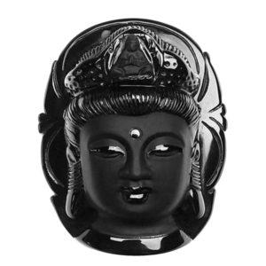 Kwan Yin Godin gelukssteen zwarte Obsidiaan natuursteen