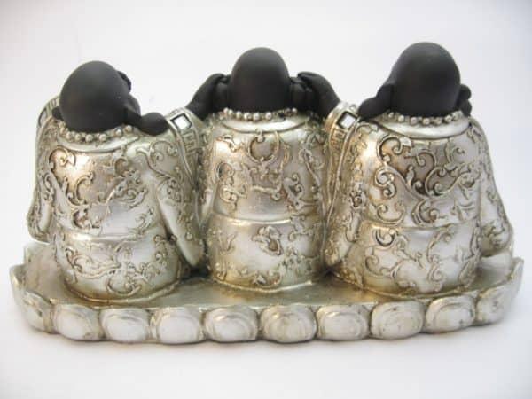 Lachende Boeddha horen zien zwijgen set zilver/zwart