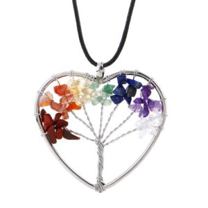 Levensboom halsketting hart edelstenen