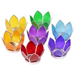 Lotus sfeerlichten chakra's set klein zilverrand (7 stuks)