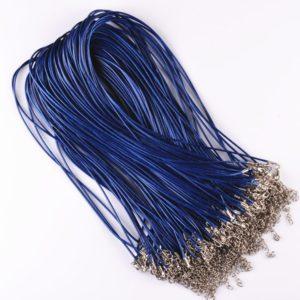 Blauw leren halsketting, lederen koord + verlengketting