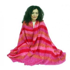 Meditatie omslagdoek XL rood roze oranje 245x115cm – sjaal