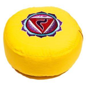 Meditatiekussen geel 3e chakra Manipura geborduurd