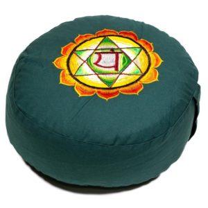 Meditatiekussen groen 4e chakra Anahata geborduurd
