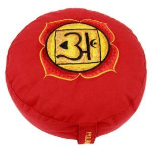Meditatiekussen rood 1e chakra Muladhara geborduurd