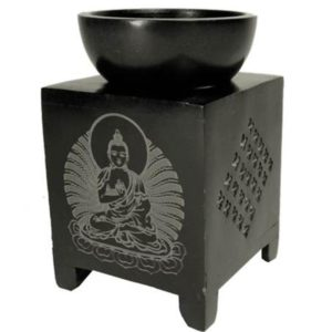 Oliebrander Buddha zwart zeepsteen