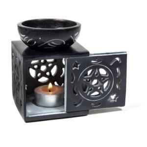 Oliebrander verdamper Pentagram zwart zeepsteen