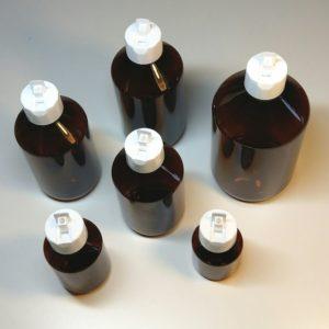 Fles polytop doseerdop – Plastic pet fles amber bruin