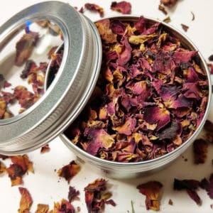 Rozenblaadjes blikje 150 ml + kijkvenster – gedroogde Paarse rozenbladeren