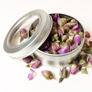 Rozenknopjes blikje 150 ml + kijkvenster – gedroogde bloemknoppen roze
