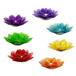 Set sfeerlichten Lotus chakra's zilverrand (7 stuks)