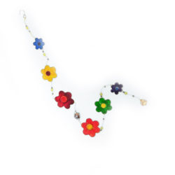 Slinger mobiel bloemen 98 cm suncatcher geschilderd glas