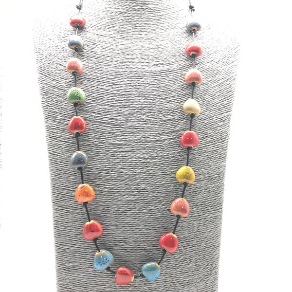 Stenen halsketting hart multicolor keramiek