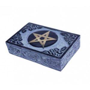 Tarotdoosje zeepsteen blauw Pentagram