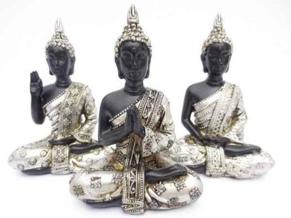 Thaise meditatie Boeddha set 3 stuks 11,5 cm.