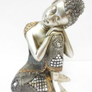 Thaise meditatie Boeddha zilver brons 28 cm.