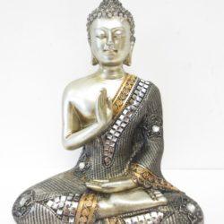 Thaise meditatie Boeddha zilver brons 20 cm.