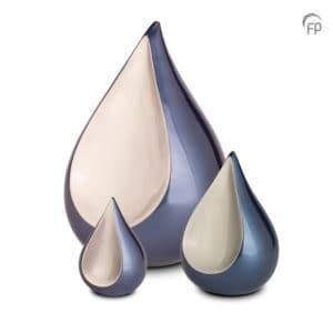 Urn Traan Mini Blauw Zilver Metaal keepsake Teardrop 0,15 Liter