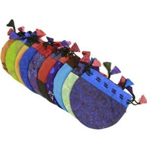 Vintage tasje zijden zakje gemengde kleuren 10×11.5cm.