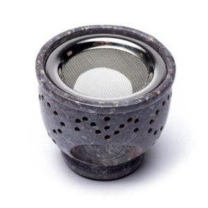 Wierookbrander & olieverdamper zeepsteen grijs