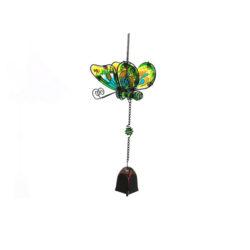Windgong Vlinder slinger groen mobiel glas metaal