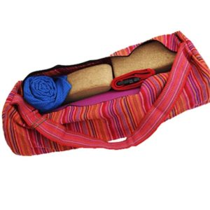 Yogatas katoen roze gestreept tas yogamat